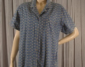 Denim Embroidered Shirt Size 1X b50