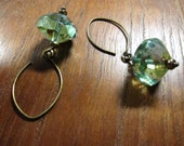 Sea Foam Green Earrings, Picasso Czech Glass Earring