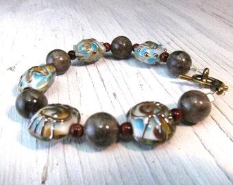 Lampwork Larvikite Bracelet, Protective Grounding Stone, Blue Murano Glass
