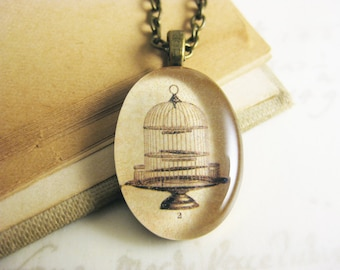 "Vintage Illustration Birdcage Pendant Necklace - Oval Resin jewelry - 19"" bronze chain with matching clasps"