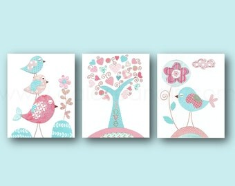Nursery wall art baby nursery kids art, tree and Birds nursery pink and blue aqua nursery art Set of three prints, girls room decor