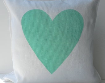 New 20x20 inch Designer Handmade Pillow Case with hand painted mint heart