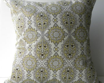 New 18x18 inch Designer Handmade Pillow Cases in yellow and grey damask pattern
