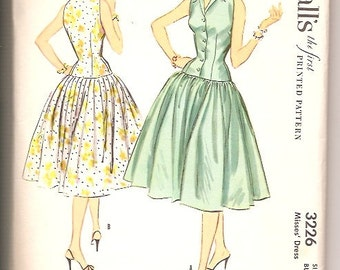 McCalls 3226 Vintage 50s Dress Sewing Pattern Size 12
