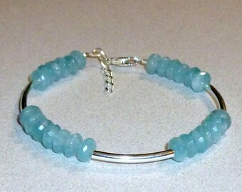 Aquamarine Blue Quartz Rondelle Gemstone Sterling Silver Curved Tube Bracelet, Beaded Adjustable Stacking Bracelet