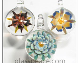 Glass Flower Pendants lampwork focal beads - Glass Peace glass jewelry (6281)