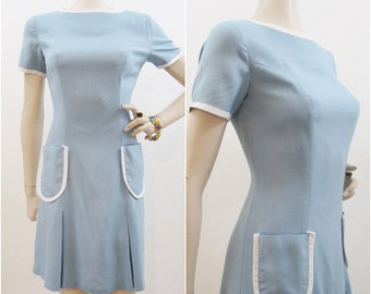 Vintage 60s Dress Mod Blue Scooter Dress White Trim Pleated Skirt M