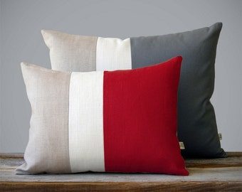 Color Block Pillow Set of 2- (12x16) Red and (16x20) Gray by JillianReneDecor   Modern Home Decor   Scandinavian Inspired   Custom Colors