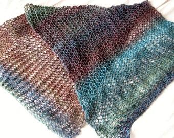 Heathland Hand Knitted Wool Mix Wraparound Shawl