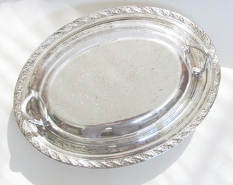 Vintage Silver Plate Serving Dish / Oval Serving Set / 2 Piece Cottage Chic Silver Dish with Filigree Edging / Unique Gift Under 30