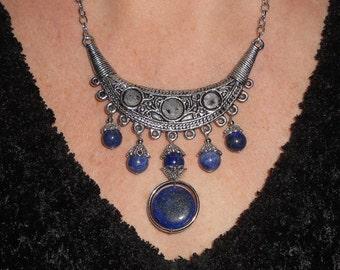 Statement necklace, lapis necklace, crescent necklace, bohemian necklace, blue necklace, lapis lazuli jewelry, bohemian jewelry