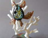 Sea Turtle Diving over Coral Sculpture