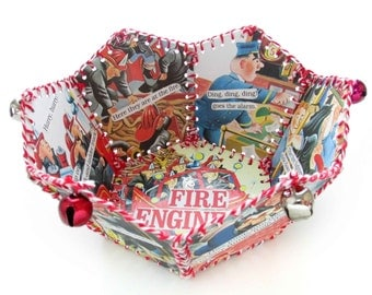 Paper Basket, Vintage Little Golden Book, FIRE ENGINE