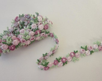 Embroidered Rose Bud Mauve White Flower Ribbon Trim Scrapbook Reborn Doll Quilt Sewing Couture