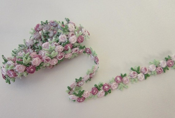 Embroidered rose bud mauve white flower ribbon trim scrapbook