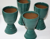 Green Stoneware Goblets for Wine or Flower Arranging Rustic Country Set of Four