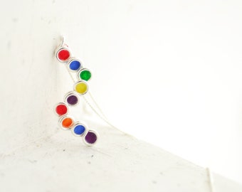 Silver Rainbow Pendant, Primary Colors Jewelry, Long Layering Necklace