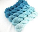 Gradient Yarn Kit, Hand Dyed Merino Wool, Lilt Sock - Naiad