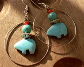 BEAR-Turquoise & Silver Earrings, Silver Hoop Earrings, NATIVE AMERICAN, Western
