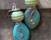 Sage-Turquoise Teal Green Blue Stone & Natural Wood Silver Earrings