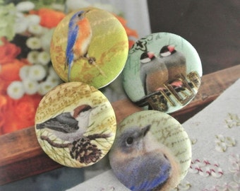 "Fabric Buttons, Large Yellow Gray Grey Bird Trees Fabric Covered Buttons , Large Bird Animal Fridge Magnets, Flat Backs 1.25"" 4's"