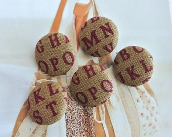 "Fabric Buttons, Retro Beige Dark Red Alphabets Letters Fabric Covered Buttons, Alphabet Children Fridge Magnets, Flat Backs, 1"" 5's"