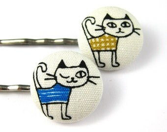 Cat Bobby Pins- Handmade Bobby Pins with White Kitty Print Fabric Covered Buttons