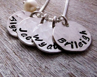 Mother's Day Gift - Hand Stamped Mommy Necklace - Four Loves - personalized mothers necklace with pearl
