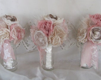 Bridesmaid Bouquets, Fabric bouquets, Wedding bouquet, wedding flowers, Dusty Rose bouquet, shabby chic bouquets