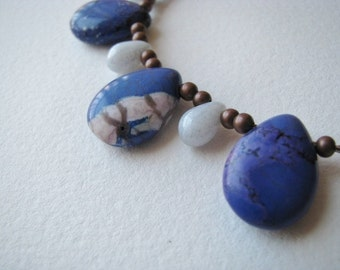 Blue Necklace, Blue Magnesite Necklace, Blue Mosaic Magnesite and Copper Necklace, Denim Blue