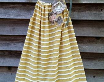 Goldenrod Mini Ruffles Girls Pillowcase Style Dress