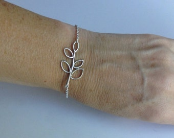 Silver Branch with Leaves Bracelet