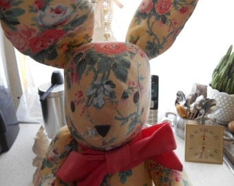 Vintage Home made Cloth Shabby Chic material Bunny Rabbit Easter Bunny