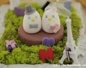 birds Wedding Cake Topper with stump (K350)
