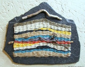 Fiber Art Wall Hanging on Natural Slate OOAK by The Bent Tree Gallery SALE was 109.00