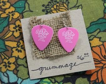 Pink Dunlop Turtle Guitar Pick Earrings
