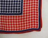 Red White Blue Scarf Red White Blue shawl Polka Dots shawl Polka Dots scarf Nautical shawl Nautical scarf red dots blue dots wide shawl