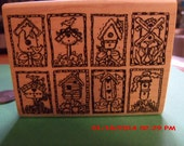 Eight Birdhouses in On  Double-Side Rubber Stamp - New