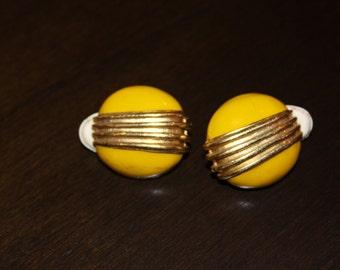 Vintage Yellow Clip Earrings