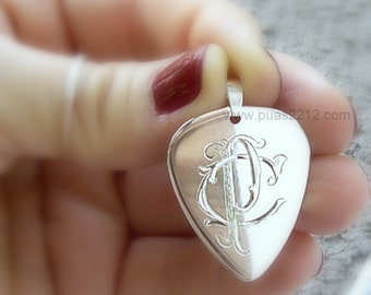 Sterling silver pick hand-engraved, monogrammed, 0.75 mm Personalized jewelry ,plectrum, men, father, music, initial, gift, woman