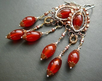 Crème brûlée wire wrapped chandelier earrings  - fine silver, sterling silver , copper, brass and carnelian.