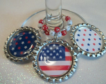 Red, White and Blue Patriotic Wine Glass Charms