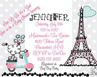 Eiffel Tower Baby Shower Invitation