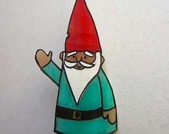 Whimsical Garden Gnome Brooch Pin