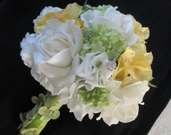 Realtouch Roses and Silk Green Snowballs and Yellow silk Hydrangea Wedding Bridal bouquet Set