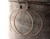 Made To Order, Handcrafted Pure Copper or Pure Brass Oxidized Hoop Earrings