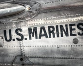 U.S. Marines, Beech C-45H Expeditor Military Aircraft Art Photography, Vintage Aircraft, Industrial Decor, Patriotic, American Airplanes