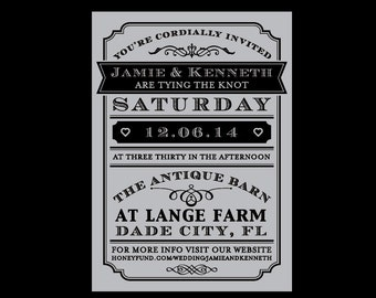 Rustic Wedding Invitations, Vintage Victorian Antique French Country Rustic Banner Wedding Invitations
