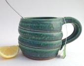 Matte Blue Green Stoneware Swirl Mug