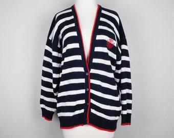 Vintage Cardigan Sweater Red White Blue Stripes L